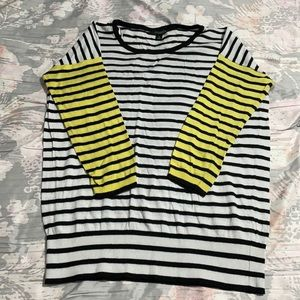 Ann Taylor stripe sweater with yellow sleeves